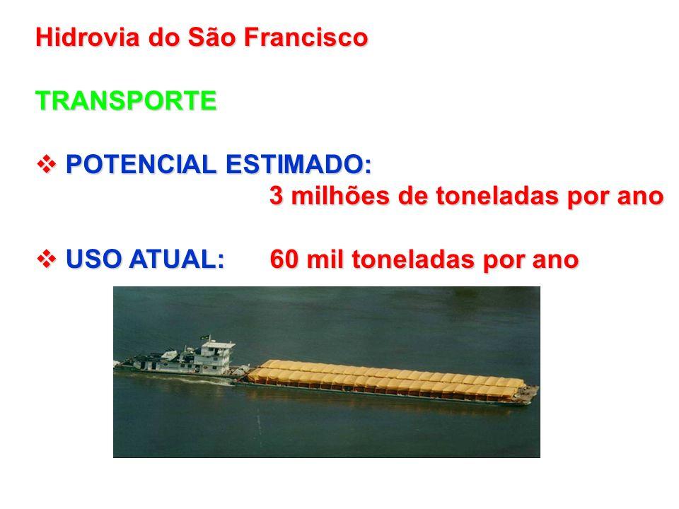 TRANSPORTE POTENCIAL ESTIMADO: POTENCIAL ESTIMADO: 3 milhões de toneladas por ano 3 milhões de toneladas por ano USO ATUAL: 60 mil toneladas por ano U