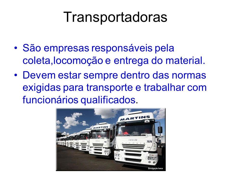 Transportadoras São empresas responsáveis pela coleta,locomoção e entrega do material. Devem estar sempre dentro das normas exigidas para transporte e