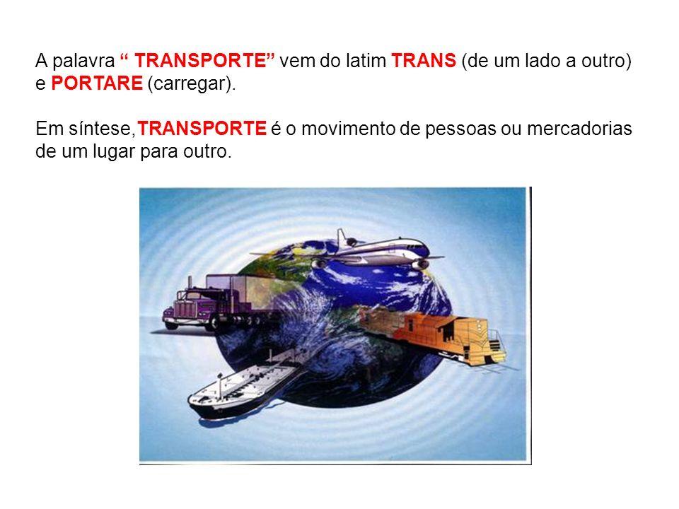 A palavra TRANSPORTE vem do latim TRANS (de um lado a outro) e PORTARE (carregar). Em síntese,TRANSPORTE é o movimento de pessoas ou mercadorias de um