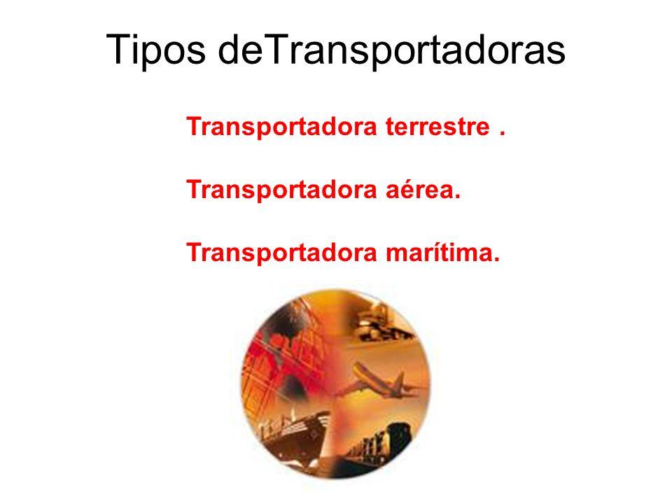 Tipos deTransportadoras Transportadora terrestre. Transportadora aérea. Transportadora marítima.