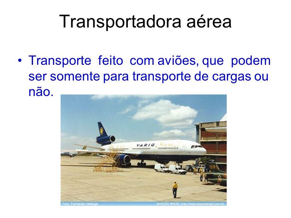 Transportadora aérea Transporte feito com aviões, que podem ser somente para transporte de cargas ou não.