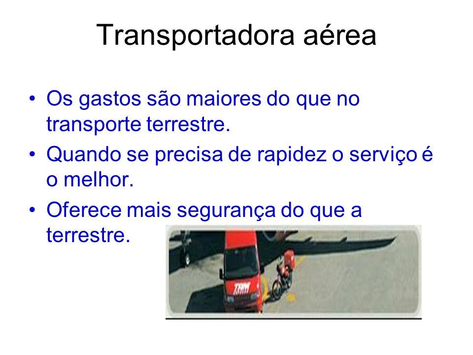 Transportadora aérea Os gastos são maiores do que no transporte terrestre. Quando se precisa de rapidez o serviço é o melhor. Oferece mais segurança d