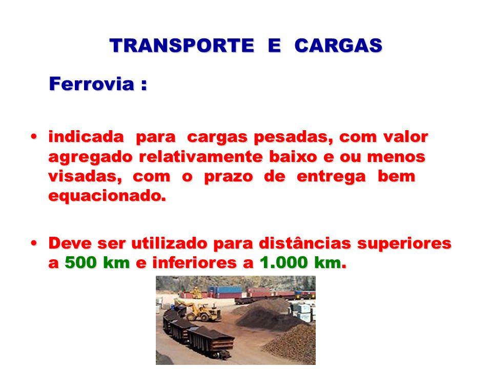 TRANSPORTE E CARGAS Ferrovia : Ferrovia : indicada para cargas pesadas, com valor agregado relativamente baixo e ou menos visadas, com o prazo de entr