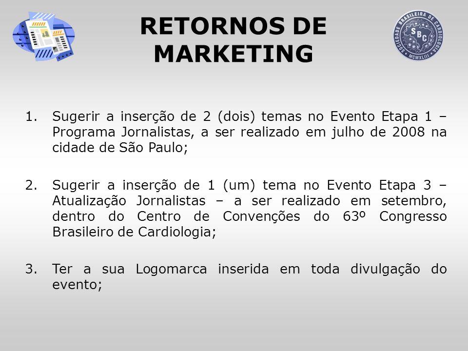 RETORNOS DE MARKETING 1.Sugerir a inserção de 2 (dois) temas no Evento Etapa 1 – Programa Jornalistas, a ser realizado em julho de 2008 na cidade de S