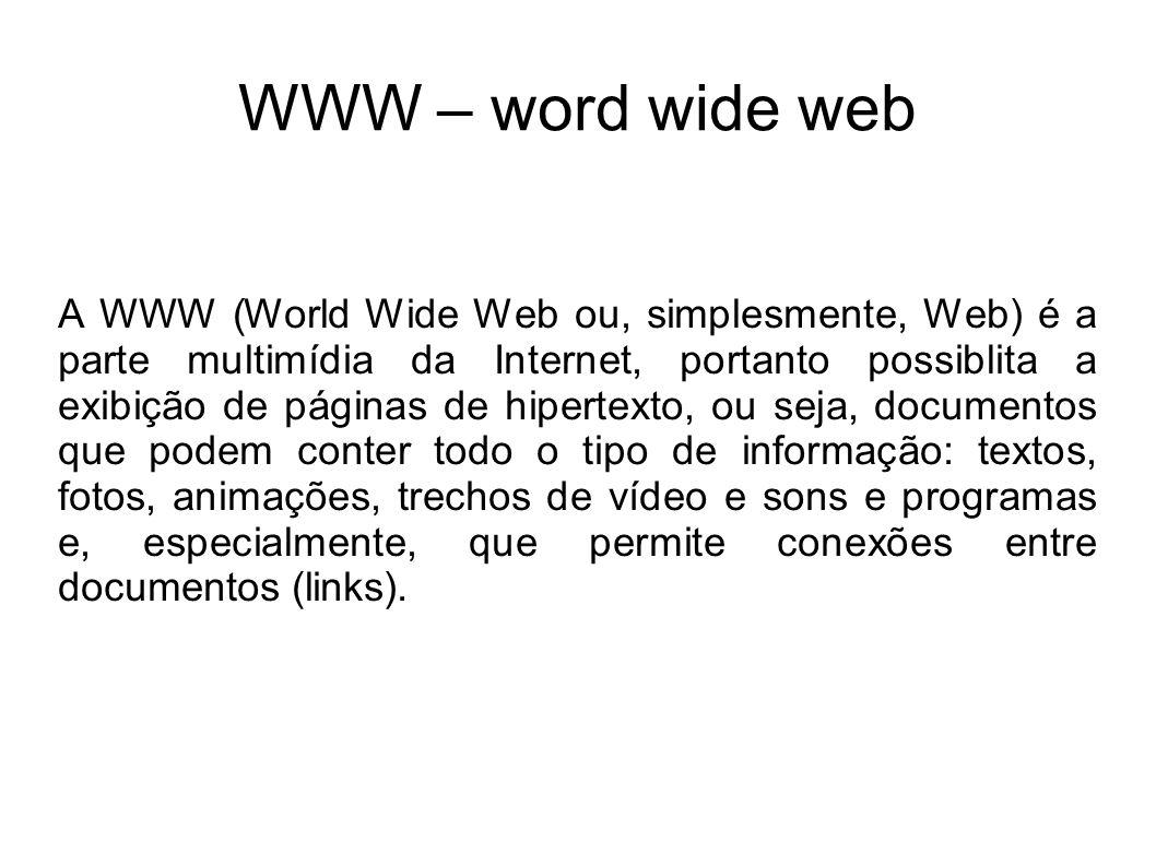 Na Internet a informação é colocada em documentos denomiados sites ou páginas Web.