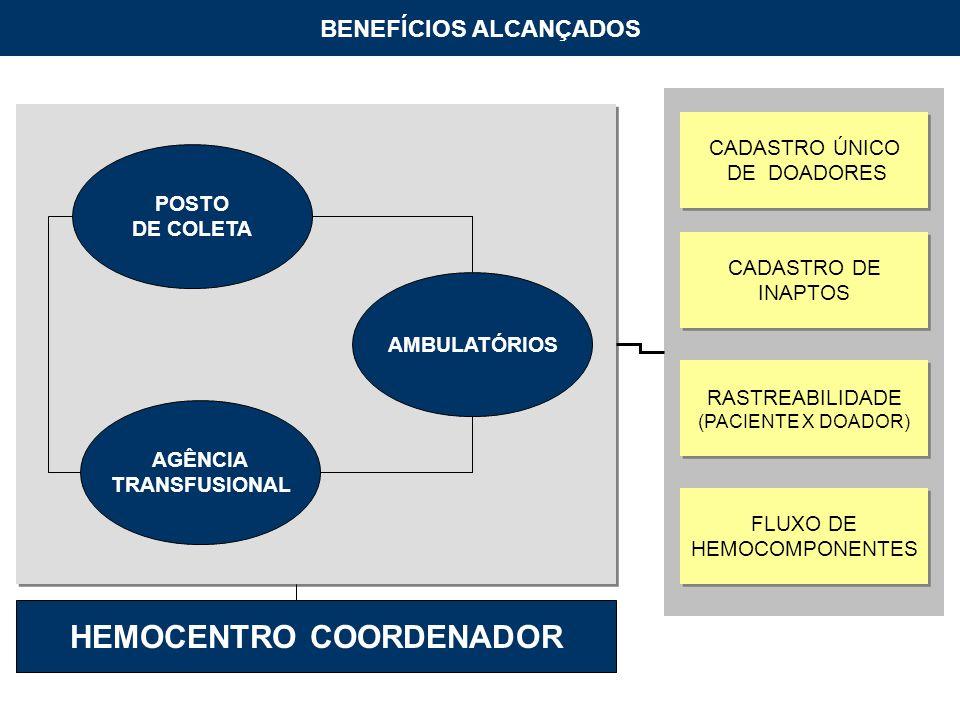 AMBULATÓRIOS POSTO DE COLETA AGÊNCIA TRANSFUSIONAL CADASTRO ÚNICO DE DOADORES CADASTRO ÚNICO DE DOADORES CADASTRO DE INAPTOS CADASTRO DE INAPTOS RASTREABILIDADE (PACIENTE X DOADOR) RASTREABILIDADE (PACIENTE X DOADOR) FLUXO DE HEMOCOMPONENTES FLUXO DE HEMOCOMPONENTES BENEFÍCIOS ALCANÇADOS HEMOCENTRO COORDENADOR