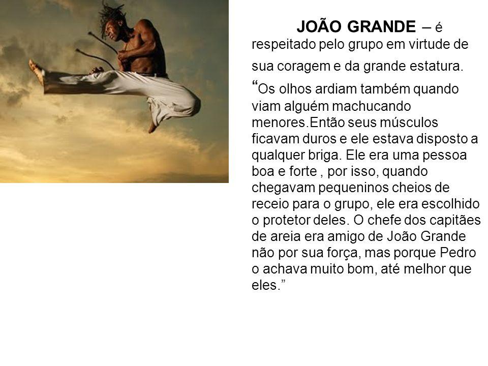 JOÃO GRANDE – é respeitado pelo grupo em virtude de sua coragem e da grande estatura. Os olhos ardiam também quando viam alguém machucando menores.Ent