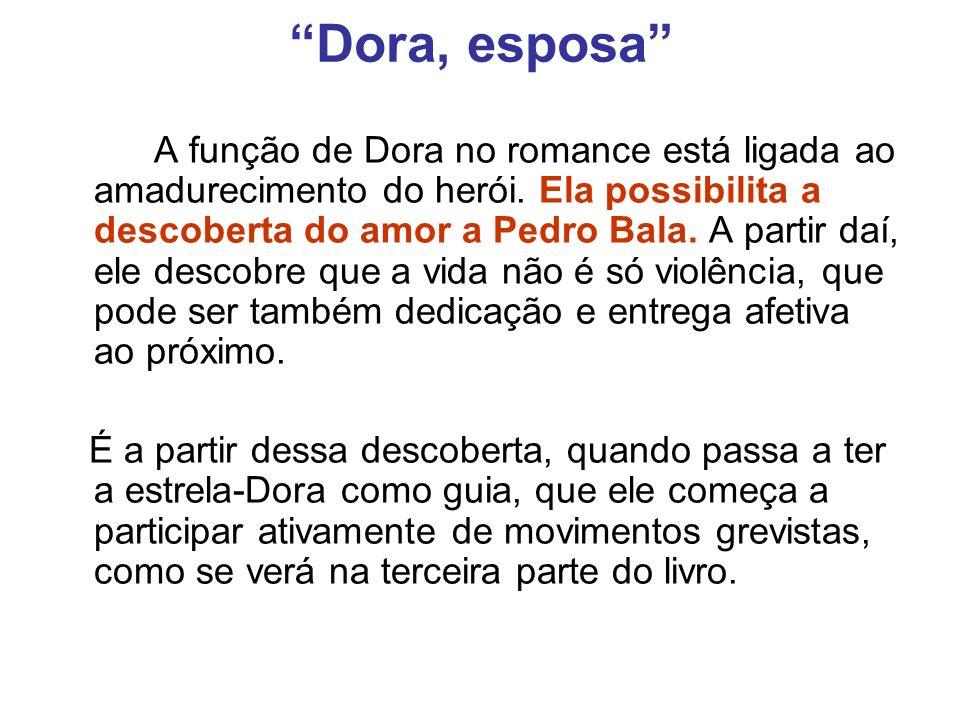 Dora, esposa A função de Dora no romance está ligada ao amadurecimento do herói. Ela possibilita a descoberta do amor a Pedro Bala. A partir daí, ele