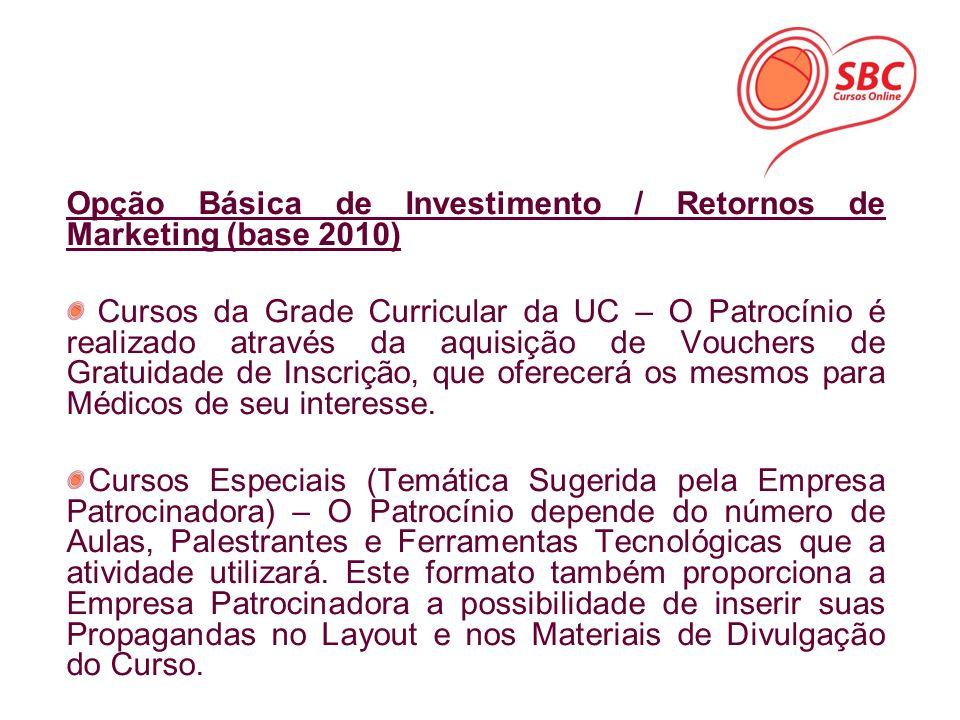 Opção Básica de Investimento / Retornos de Marketing (base 2010) Cursos da Grade Curricular da UC – O Patrocínio é realizado através da aquisição de V