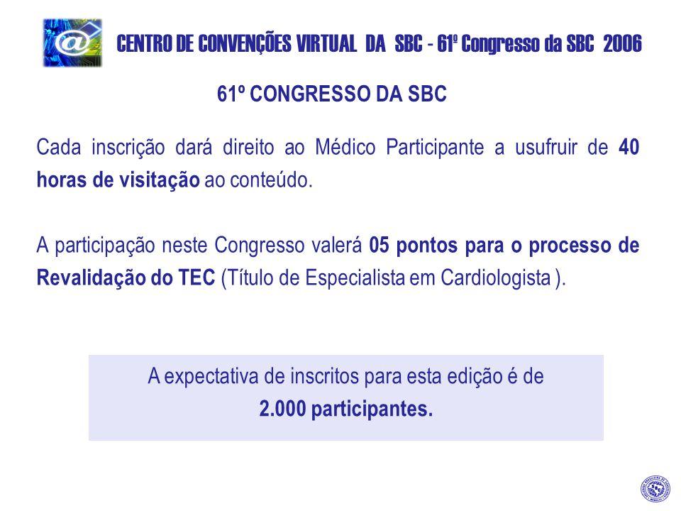 CENTRO DE CONVENÇÕES VIRTUAL DA SBC - 61º Congresso da SBC 2006 61º CONGRESSO DA SBC Cada inscrição dará direito ao Médico Participante a usufruir de 40 horas de visitação ao conteúdo.