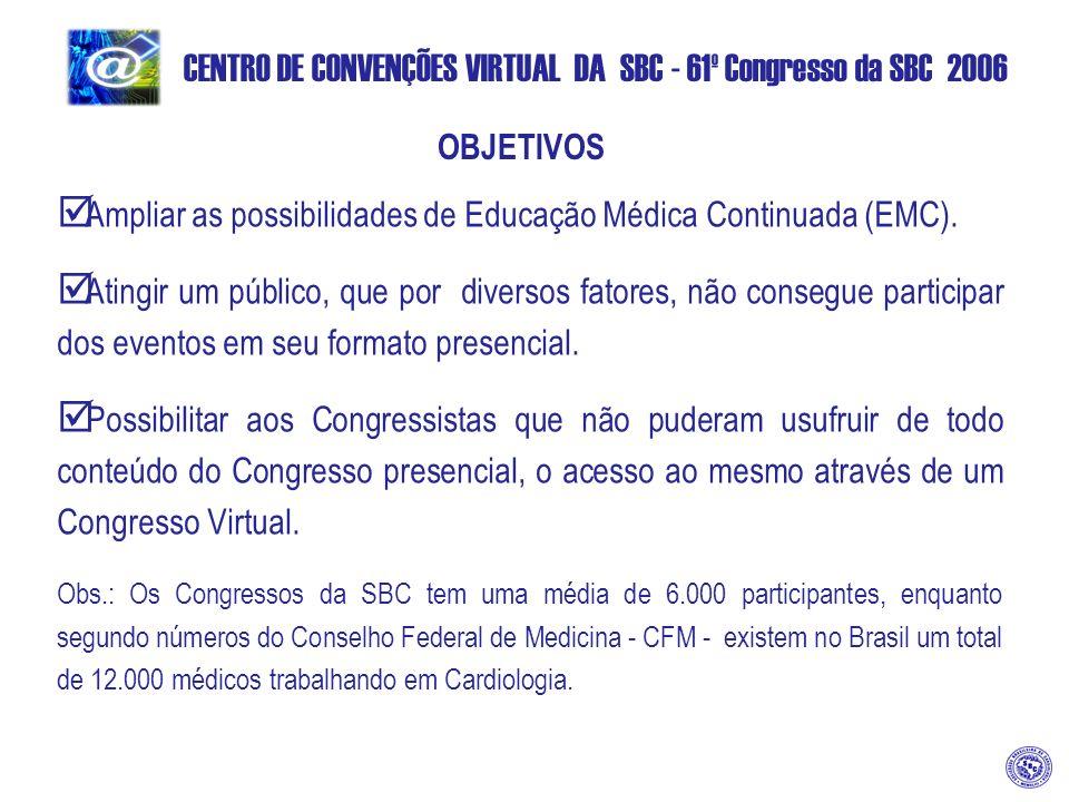 CENTRO DE CONVENÇÕES VIRTUAL DA SBC - 61º Congresso da SBC 2006 OBJETIVOS Ampliar as possibilidades de Educação Médica Continuada (EMC).