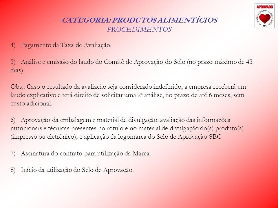 CATEGORIA: PRODUTOS ALIMENTÍCIOS PROCEDIMENTOS 4)Pagamento da Taxa de Avaliação.