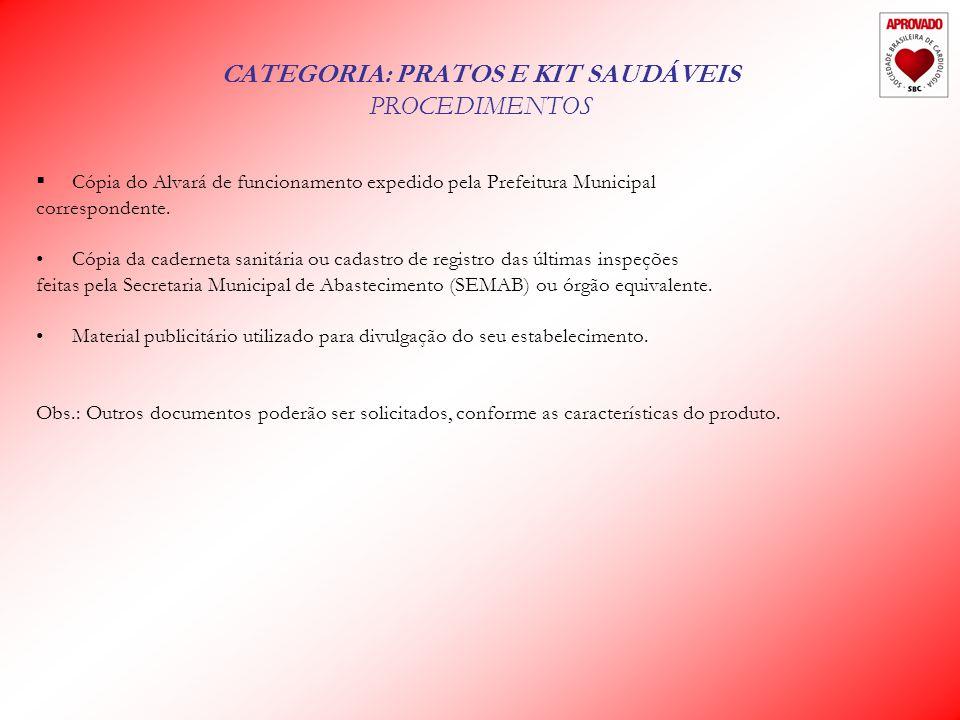 CATEGORIA: PRATOS E KIT SAUDÁVEIS PROCEDIMENTOS Cópia do Alvará de funcionamento expedido pela Prefeitura Municipal correspondente.