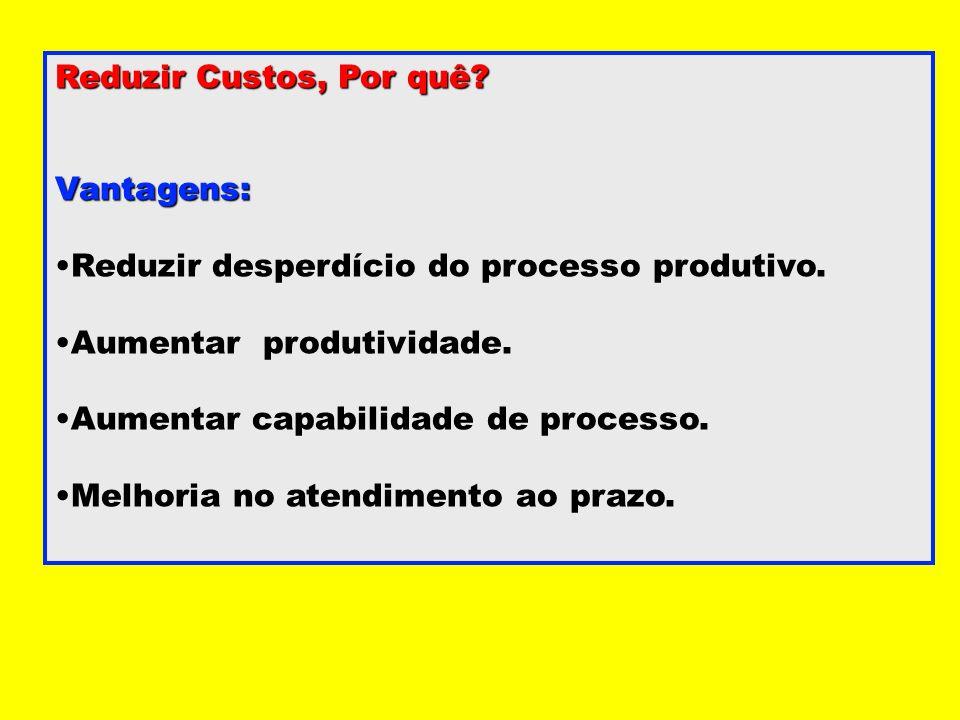 Reduzir Custos, Por quê? Vantagens: Reduzir desperdício do processo produtivo. Aumentar produtividade. Aumentar capabilidade de processo. Melhoria no
