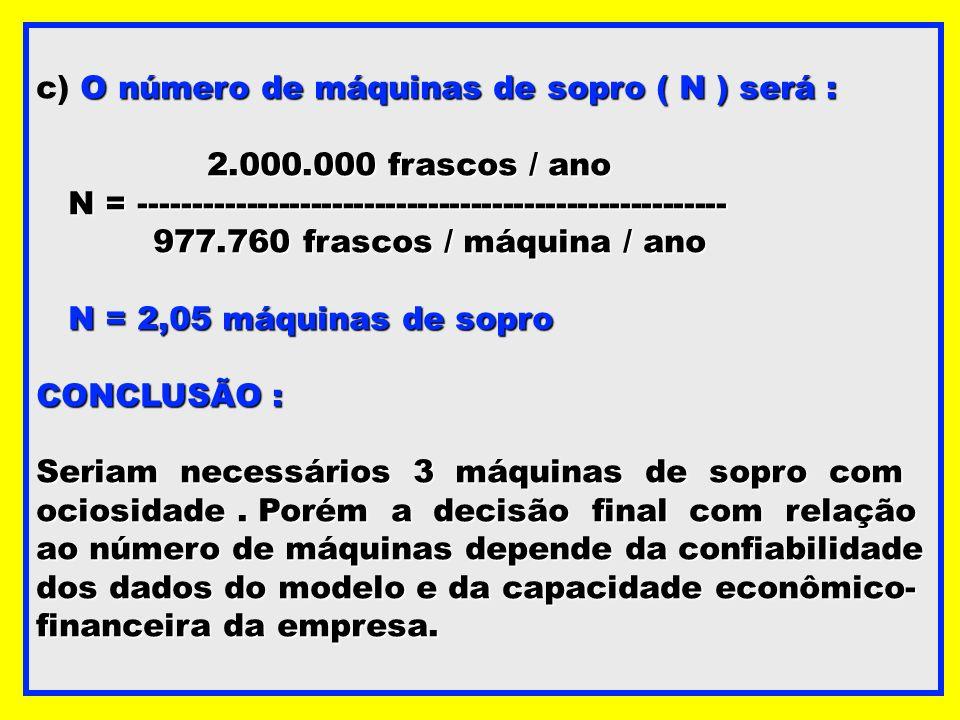 O número de máquinas de sopro ( N ) será : c) O número de máquinas de sopro ( N ) será : 2.000.000 frascos / ano N = ---------------------------------