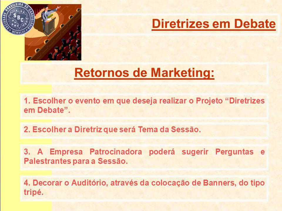 Retornos de Marketing: 1. Escolher o evento em que deseja realizar o Projeto Diretrizes em Debate.