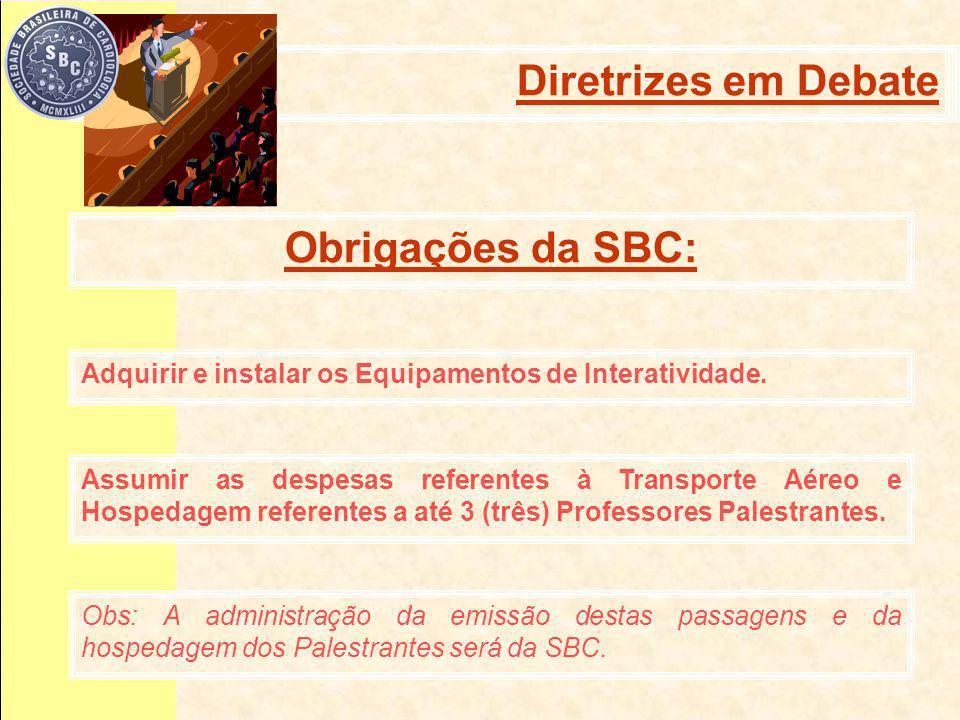 Obrigações da SBC: Diretrizes em debate Diretrizes em Debate Adquirir e instalar os Equipamentos de Interatividade.