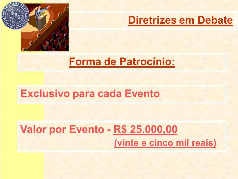 Forma de Patrocínio: Diretrizes em debate Exclusivo para cada Evento Diretrizes em Debate Valor por Evento - R$ 25.000,00 (vinte e cinco mil reais)