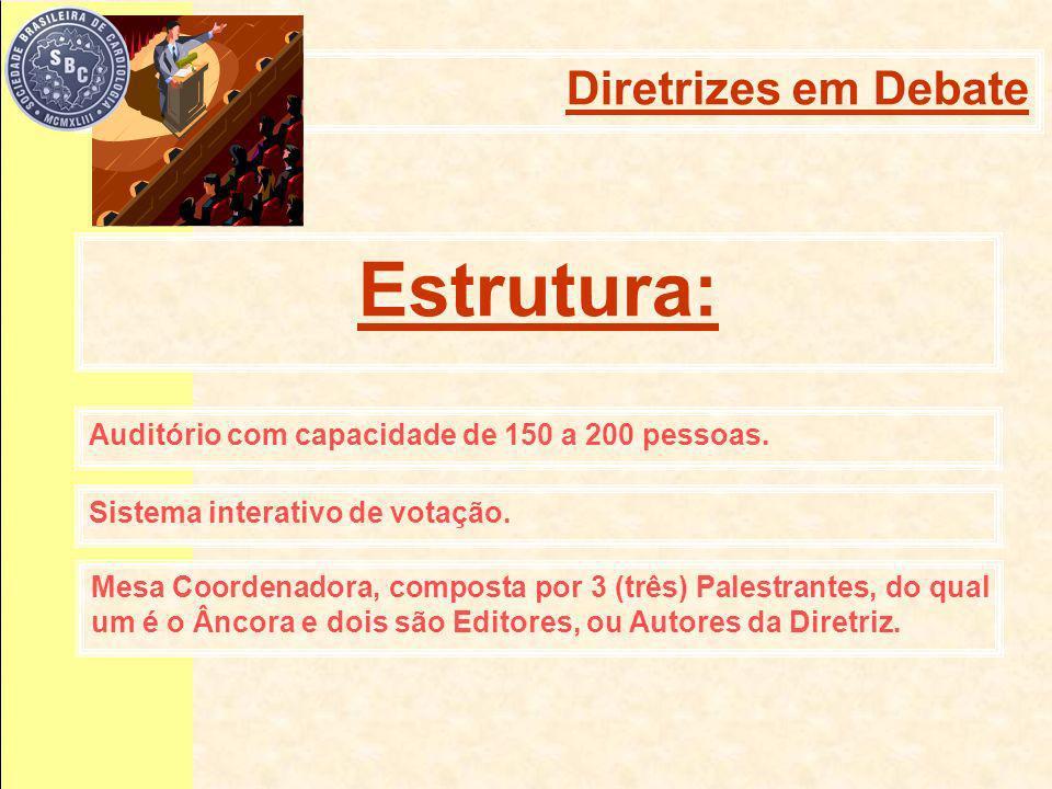 Auditório com capacidade de 150 a 200 pessoas. Estrutura: Sistema interativo de votação.