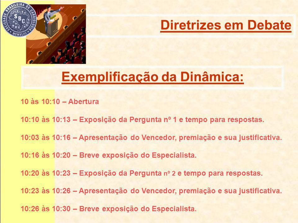 Exemplificação da Dinâmica: 10 às 10:10 – Abertura 10:10 às 10:13 – Exposição da Pergunta nº 1 e tempo para respostas.