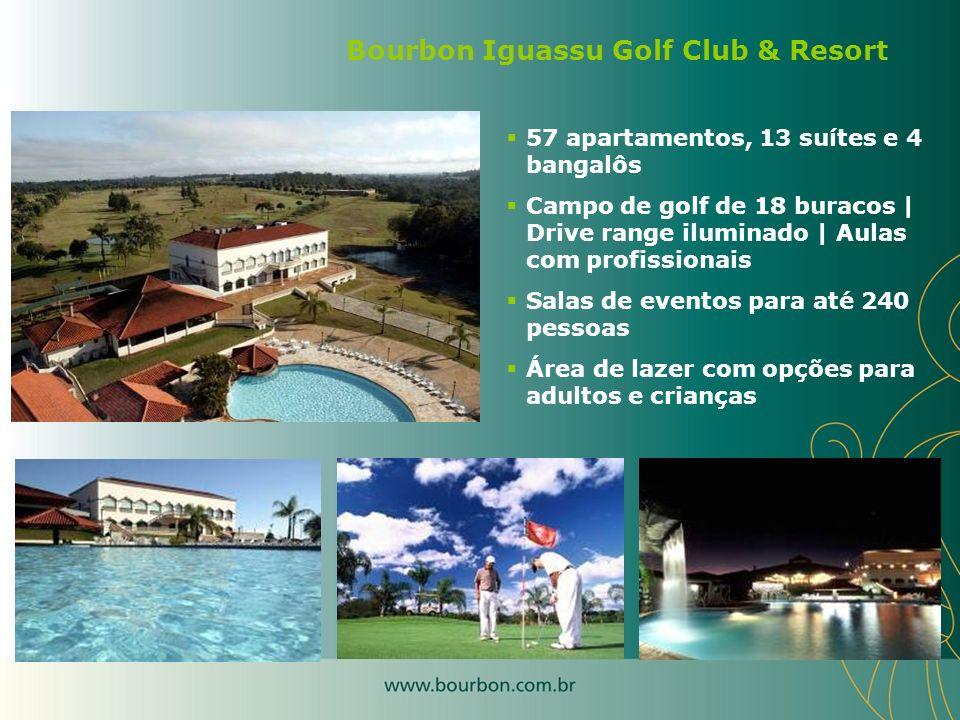 57 apartamentos, 13 suítes e 4 bangalôs Campo de golf de 18 buracos | Drive range iluminado | Aulas com profissionais Salas de eventos para até 240 pe
