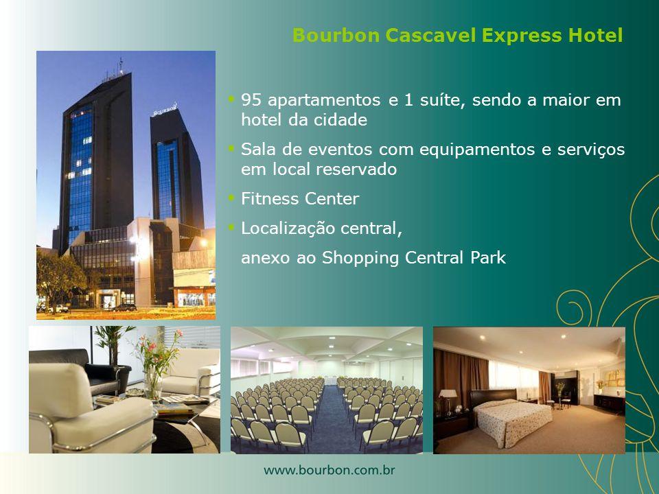95 apartamentos e 1 suíte, sendo a maior em hotel da cidade Sala de eventos com equipamentos e serviços em local reservado Fitness Center Localização