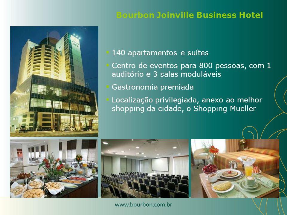 140 apartamentos e suítes Centro de eventos para 800 pessoas, com 1 auditório e 3 salas moduláveis Gastronomia premiada Localização privilegiada, anex