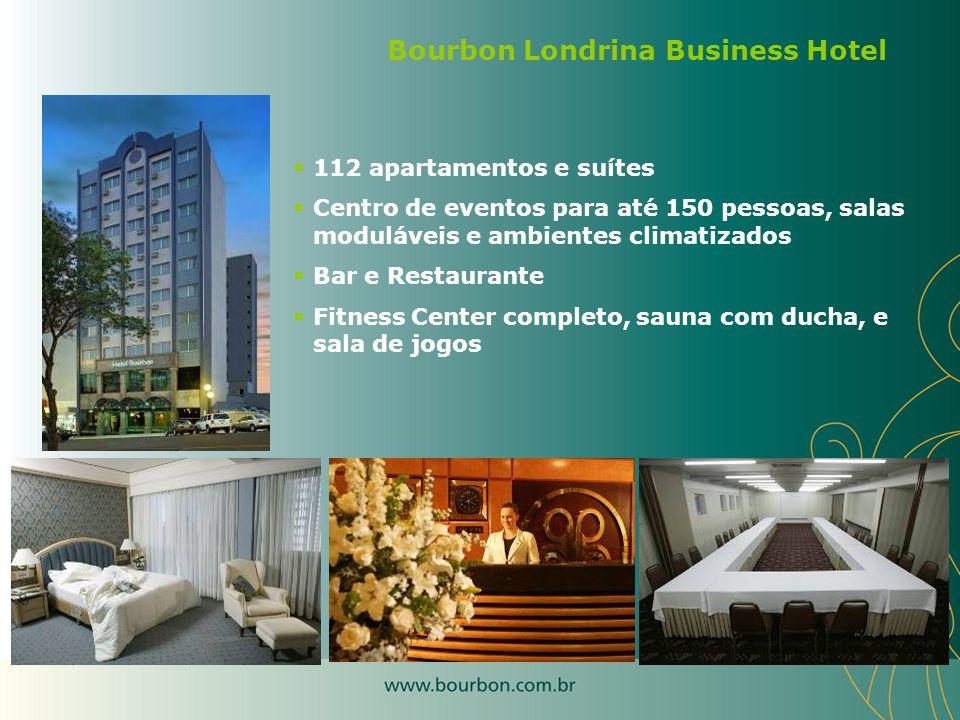 112 apartamentos e suítes Centro de eventos para até 150 pessoas, salas moduláveis e ambientes climatizados Bar e Restaurante Fitness Center completo,