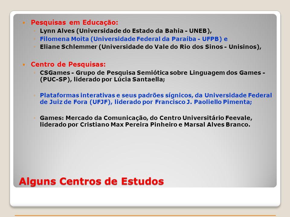 Alguns Centros de Estudos Pesquisas em Educação: Lynn Alves (Universidade do Estado da Bahia - UNEB), Filomena Moita (Universidade Federal da Paraíba - UFPB) e Eliane Schlemmer (Universidade do Vale do Rio dos Sinos - Unisinos), Centro de Pesquisas: CSGames - Grupo de Pesquisa Semiótica sobre Linguagem dos Games - (PUC-SP), liderado por Lúcia Santaella; Plataformas interativas e seus padrões sígnicos, da Universidade Federal de Juiz de Fora (UFJF), liderado por Francisco J.