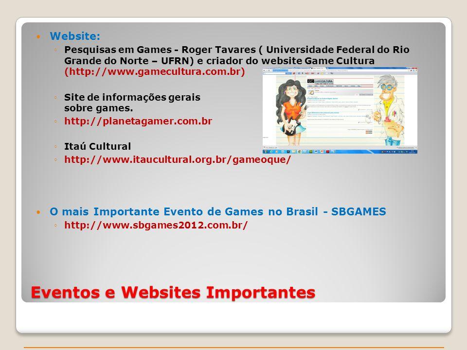 Eventos e Websites Importantes Website: Pesquisas em Games - Roger Tavares ( Universidade Federal do Rio Grande do Norte – UFRN) e criador do website Game Cultura (http://www.gamecultura.com.br) Site de informações gerais sobre games.