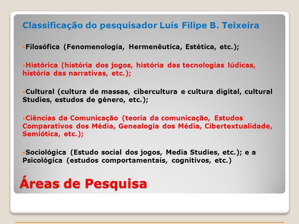 Áreas de Pesquisa Classificação do pesquisador Luís Filipe B. Teixeira Filosófica (Fenomenologia, Hermenêutica, Estética, etc.); Histórica (história d