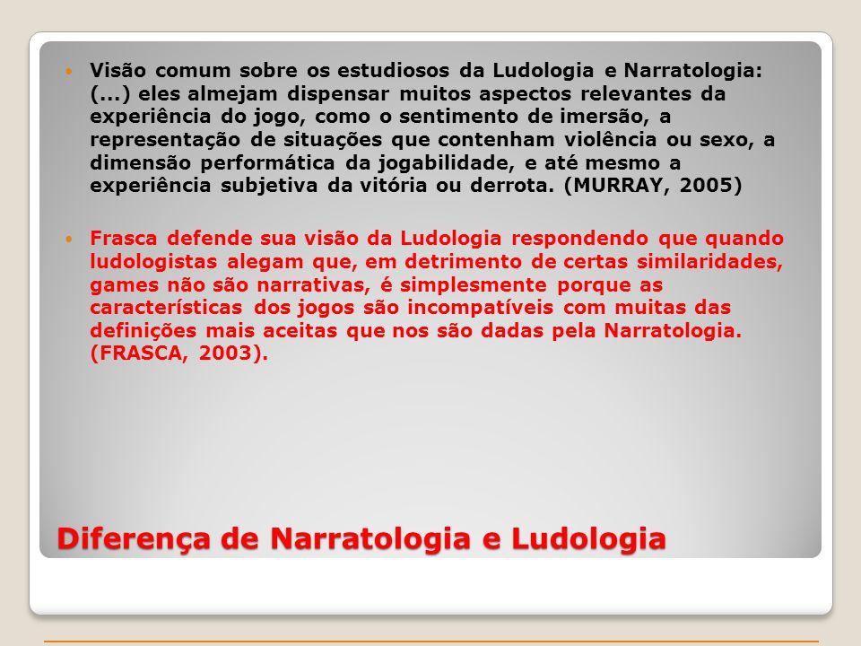 Visão comum sobre os estudiosos da Ludologia e Narratologia: (...) eles almejam dispensar muitos aspectos relevantes da experiência do jogo, como o se