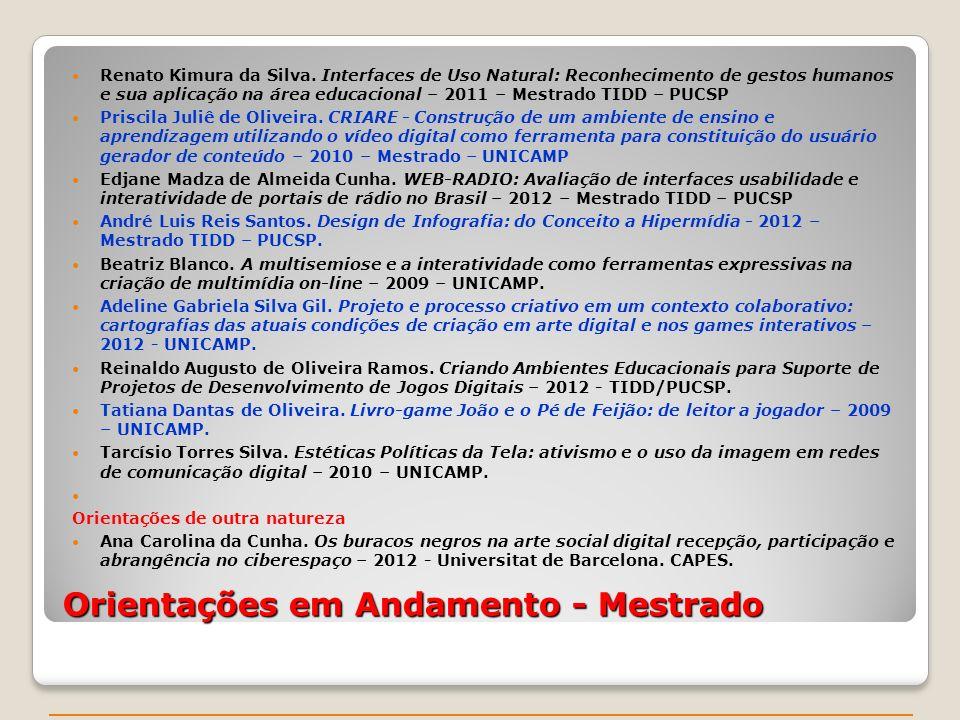 Orientações em Andamento - Mestrado Renato Kimura da Silva.