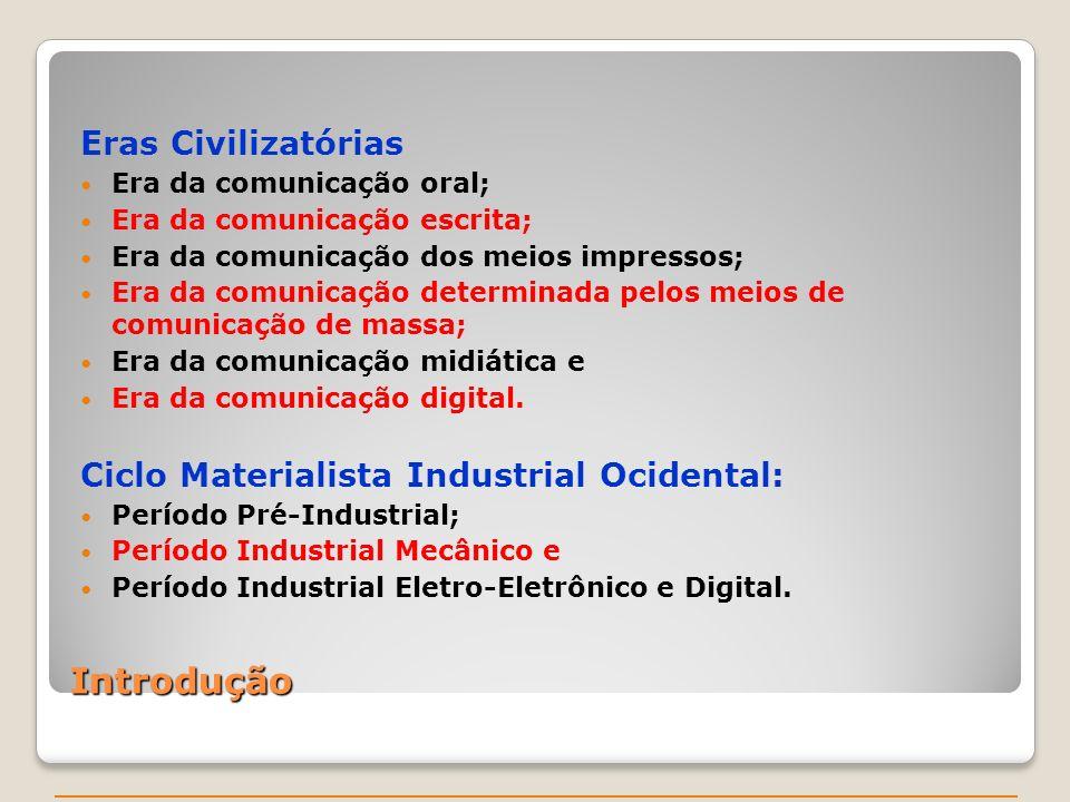 Introdução Eras Civilizatórias Era da comunicação oral; Era da comunicação escrita; Era da comunicação dos meios impressos; Era da comunicação determinada pelos meios de comunicação de massa; Era da comunicação midiática e Era da comunicação digital.