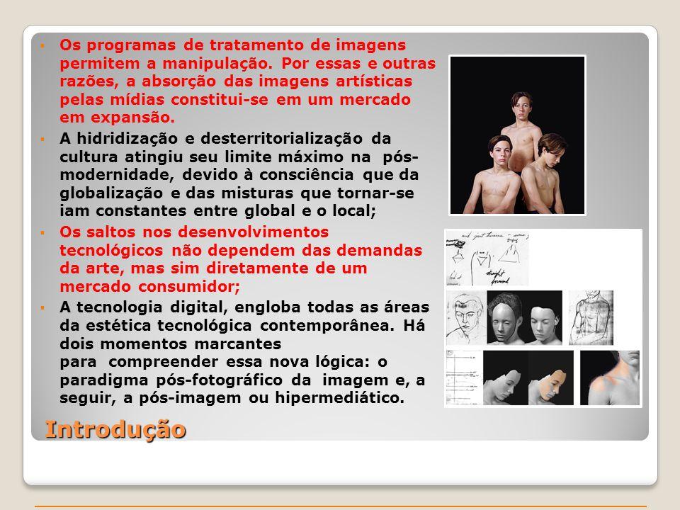 Introdução Os programas de tratamento de imagens permitem a manipulação. Por essas e outras razões, a absorção das imagens artísticas pelas mídias con