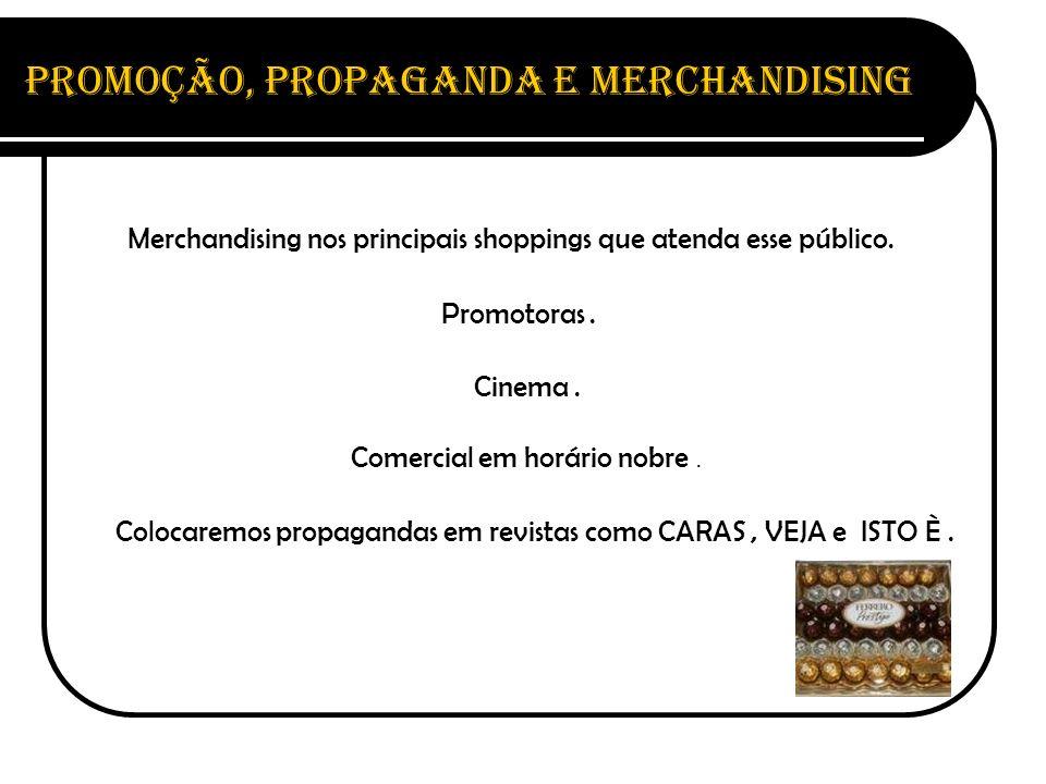 Promoção, Propaganda e Merchandising Merchandising nos principais shoppings que atenda esse público. Promotoras. Cinema. Comercial em horário nobre. C