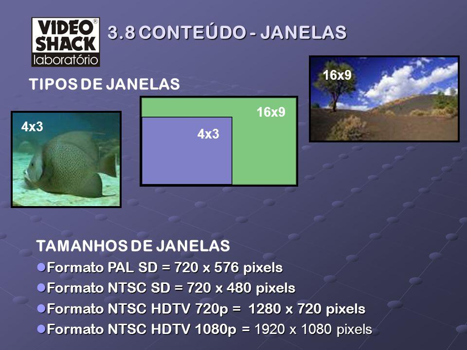 3.8 CONTEÚDO - JANELAS 3.8 CONTEÚDO - JANELAS TAMANHOS DE JANELAS Formato PAL SD = 720 x 576 pixels Formato PAL SD = 720 x 576 pixels Formato NTSC SD