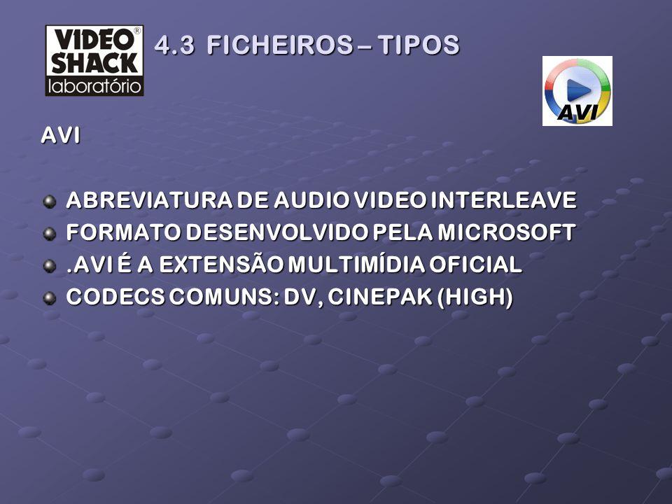 AVI ABREVIATURA DE AUDIO VIDEO INTERLEAVE FORMATO DESENVOLVIDO PELA MICROSOFT.AVI É A EXTENSÃO MULTIMÍDIA OFICIAL CODECS COMUNS: DV, CINEPAK (HIGH) 4.