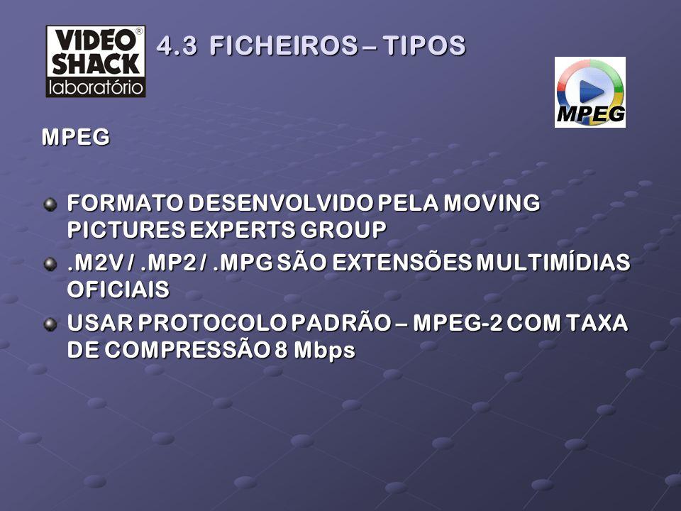 MPEG FORMATO DESENVOLVIDO PELA MOVING PICTURES EXPERTS GROUP.M2V /.MP2 /.MPG SÃO EXTENSÕES MULTIMÍDIAS OFICIAIS USAR PROTOCOLO PADRÃO – MPEG-2 COM TAX