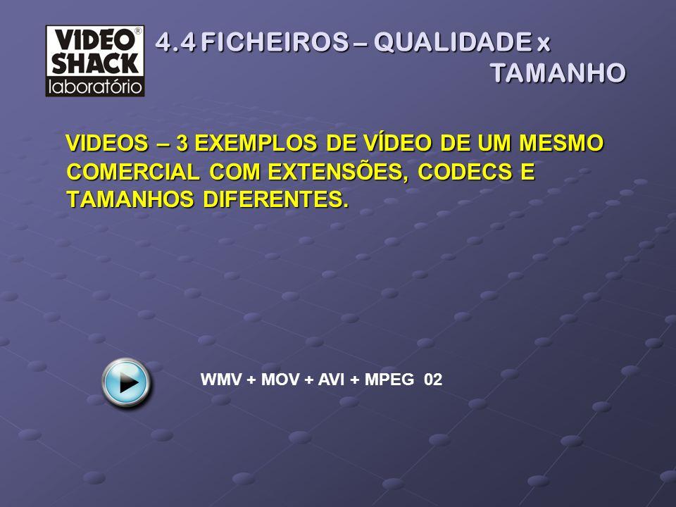 VIDEOS – 3 EXEMPLOS DE VÍDEO DE UM MESMO COMERCIAL COM EXTENSÕES, CODECS E TAMANHOS DIFERENTES. VIDEOS – 3 EXEMPLOS DE VÍDEO DE UM MESMO COMERCIAL COM