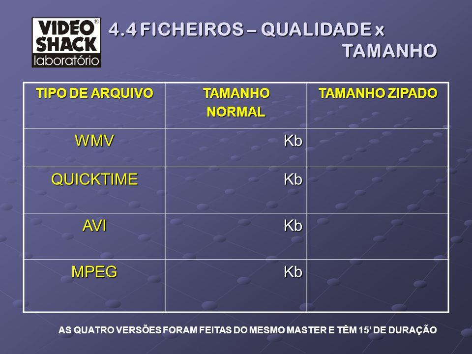4.4 FICHEIROS – QUALIDADE x TAMANHO 4.4 FICHEIROS – QUALIDADE x TAMANHO TIPO DE ARQUIVO TAMANHONORMAL TAMANHO ZIPADO WMV Kb Kb QUICKTIME AVI MPEG AS Q