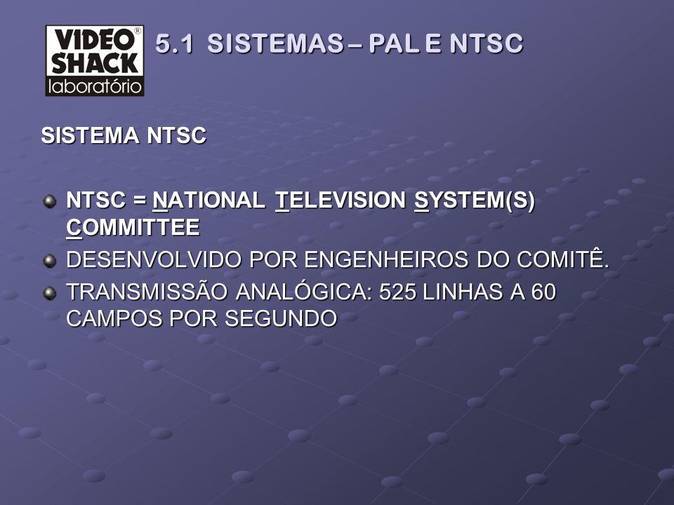 SISTEMA NTSC NTSC = NATIONAL TELEVISION SYSTEM(S) COMMITTEE DESENVOLVIDO POR ENGENHEIROS DO COMITÊ. TRANSMISSÃO ANALÓGICA: 525 LINHAS A 60 CAMPOS POR