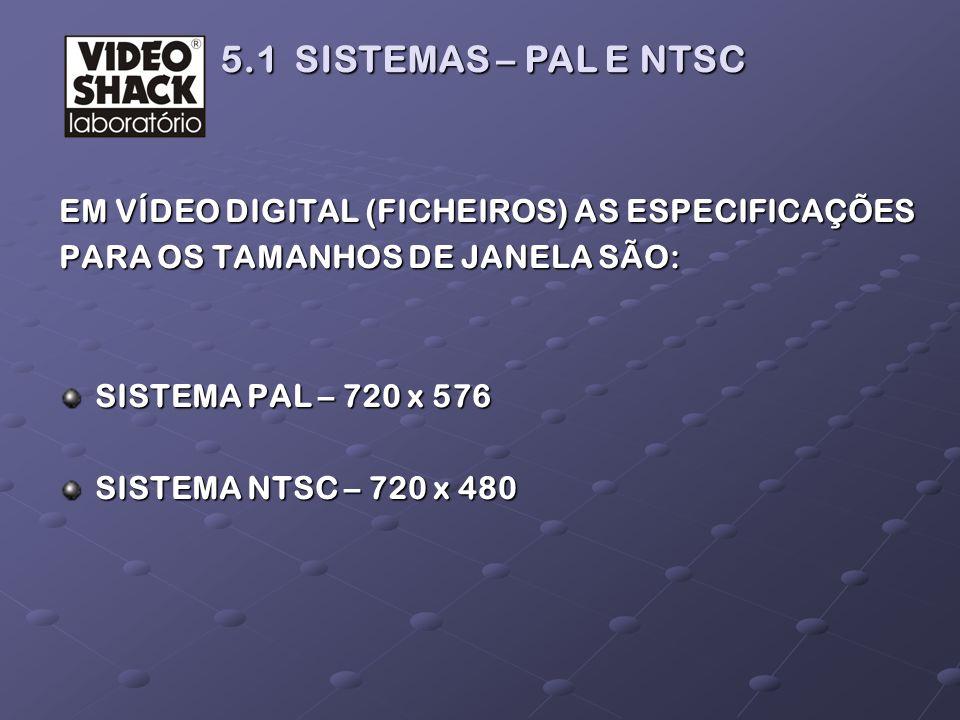 EM VÍDEO DIGITAL (FICHEIROS) AS ESPECIFICAÇÕES PARA OS TAMANHOS DE JANELA SÃO: SISTEMA PAL – 720 x 576 SISTEMA NTSC – 720 x 480 5.1 SISTEMAS – PAL E N