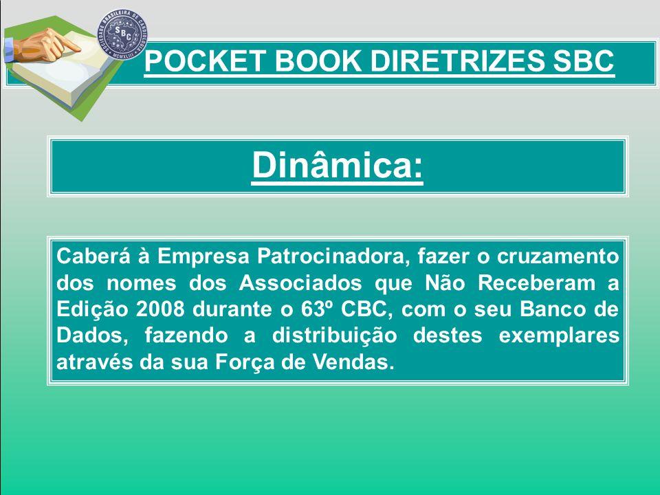 Dinâmica: POCKET BOOK DIRETRIZES SBC Caberá à Empresa Patrocinadora, fazer o cruzamento dos nomes dos Associados que Não Receberam a Edição 2008 duran