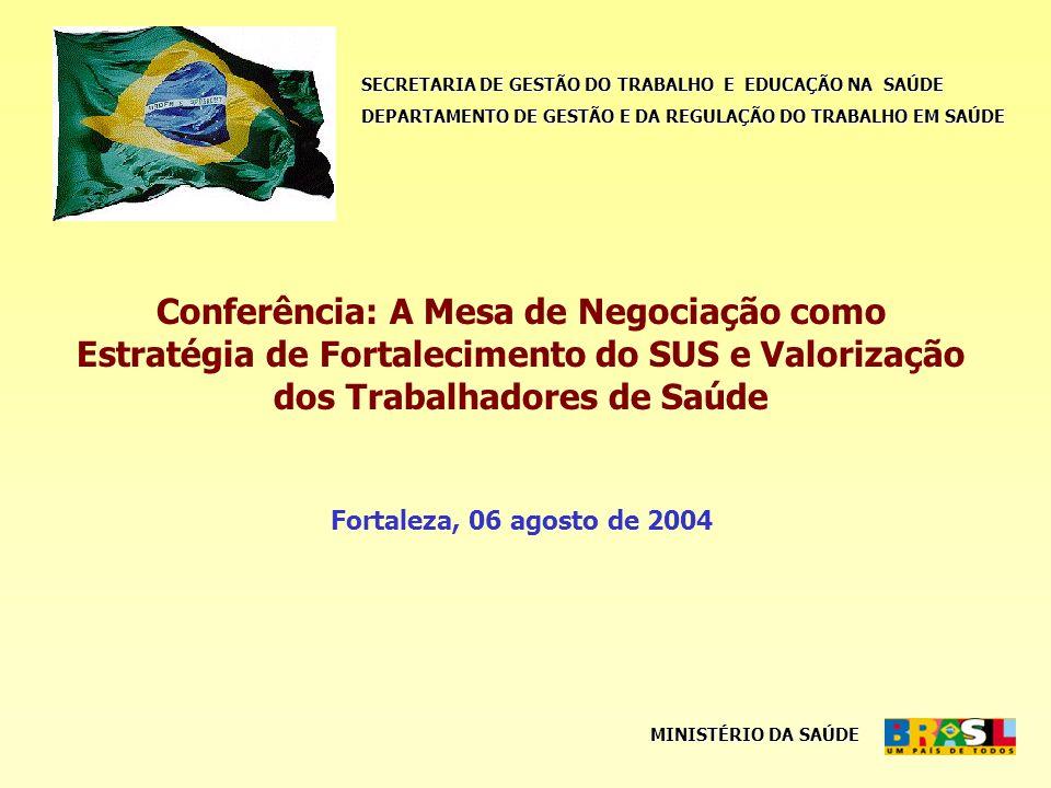 SECRETARIA DE GESTÃO DO TRABALHO E EDUCAÇÃO NA SAÚDE DEPARTAMENTO DE GESTÃO E DA REGULAÇÃO DO TRABALHO EM SAÚDE MINISTÉRIO DA SAÚDE Conferência: A Mesa de Negociação como Estratégia de Fortalecimento do SUS e Valorização dos Trabalhadores de Saúde Fortaleza, 06 agosto de 2004