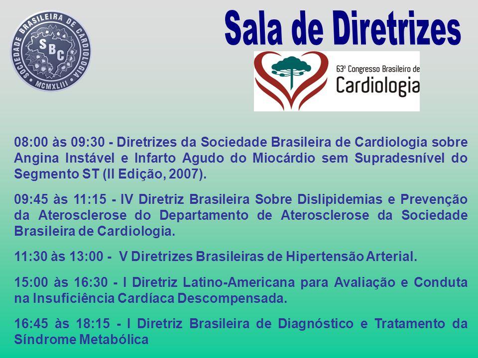 08:00 às 09:30 - Diretrizes da Sociedade Brasileira de Cardiologia sobre Angina Instável e Infarto Agudo do Miocárdio sem Supradesnível do Segmento ST