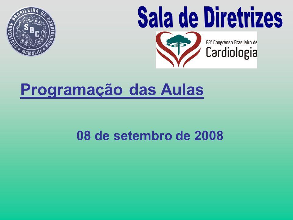 Programação das Aulas 08 de setembro de 2008
