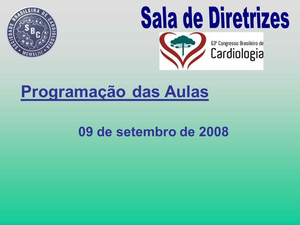 Programação das Aulas 09 de setembro de 2008