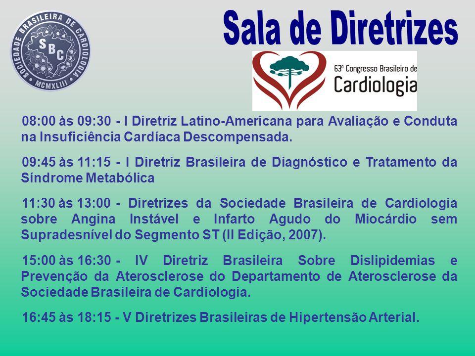 08:00 às 09:30- I Diretriz Latino-Americana para Avaliação e Conduta na Insuficiência Cardíaca Descompensada. 09:45 às 11:15- I Diretriz Brasileira de