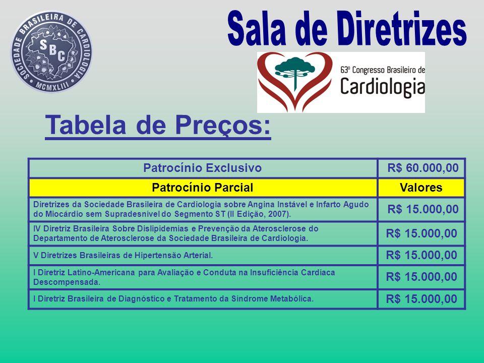 Patrocínio Exclusivo R$ 60.000,00 Patrocínio ParcialValores Diretrizes da Sociedade Brasileira de Cardiologia sobre Angina Instável e Infarto Agudo do